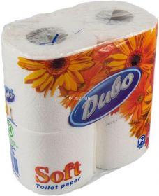 Бумага туалетная целлюлозная на гильзе Диво, 2 слоя, 4 рулона, белая