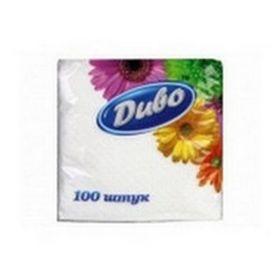 Салфетки бумажные Диво 33х33 см, белые, 100 шт