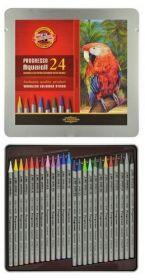 Карандаши цветные акварельные бездревесные Progresso, 24 цвета, метал.упаковка