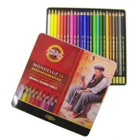 Карандаши цветные акварельные Mondeluz, 24 цвета, метал.упаковка