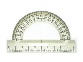 Транспортир 180°/100 мм, бесцветный