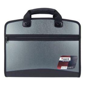 Пластиковый портфель Axent А4, 4 отделения, серый металлик