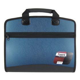 Пластиковый портфель Axent А4, 4 отделения, синий металлик