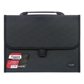 Пластиковый портфель Axent А4, 12 отделений, черный