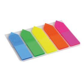 Закладки пластиковые с клейким слоем 5х12х50 мм, 125 шт., неон, ассорти