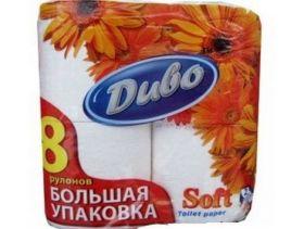 Бумага туалетная целлюлозная на гильзе Диво Soft, 2 слоя, 8 рулонов, белая
