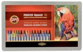 Карандаши цветные акварельные бездревесные Progresso, 36 цветов, в металлической упаковке