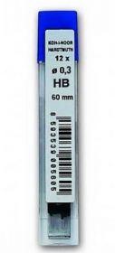 Грифели для механических карандашей НВ, 0.3 мм, 12 шт.