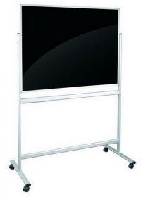 Доска стеклянная магнитно-маркерная двусторонняя мобильная 2х3  90х120 см, черная/белая