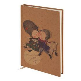 Книга записная, A5-, 96 листов, без линовки, крафт обложка, Gapchinska
