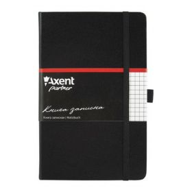 Книга записная Partner, 125х195 мм, 96 листов, клетка, черная
