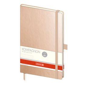 Книга записнаяКомпаньон А5, точка, бежевый металлик