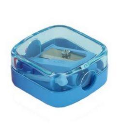 Точилка косметическая Rotare, пластиковый корпус, контейнер, голубая, полибэг