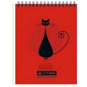 Блокнот на пружине CAT, А5, 48 листов, клетка, красный