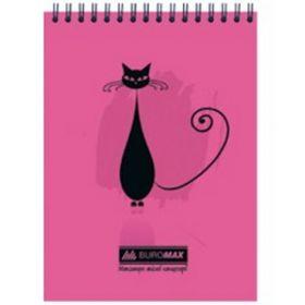 Блокнот на пружине CAT, А5, 48 листов, клетка, розовый