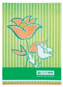 Книга канцелярская FLOWERS, А4, 80 листов, клетка, салатовый