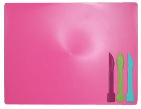 Доска для пластилина ZiBi 18х25 см,3стека,розовая