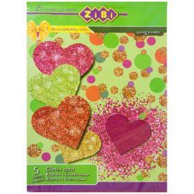 Картон цветной с блестками А4,5листов, 5 цветов