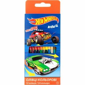 Карандаши цветные двусторонние Kite Hot Wheels, 24 цвета