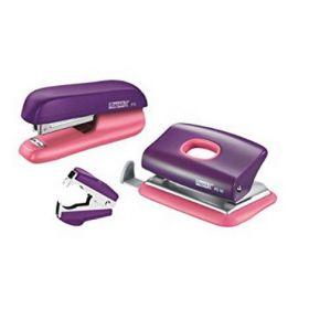 Набор Rapid: степлер + дырокол + антистеплер, фиолетовый/абрикосовый