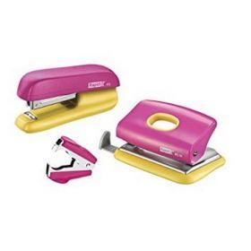 Набор Rapid: степлер + дырокол + антистеплер, розовый/желтый