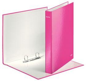 Папка на кольцах Leitz WOW А4+, 40 мм, 2D, розовый металлик