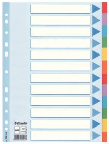Индекс-разделитель Esselte, А4, 12 разделов, картон, полупрозрачный
