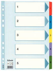 Индекс-разделитель Esselte Mylar, А4, 5 разделов, картон, полупрозрачный