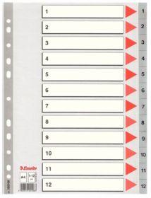 Индекс-разделитель Esselte, А4, 12 разделов, РР, серый