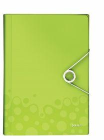 Папка с отделениями Leitz WOW A4, 6 отделений, зеленый металлик