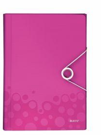 Папка с отделениями Leitz WOW A4, 6 отделений, розовый металлик