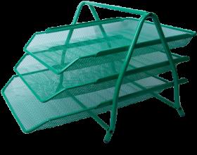 Лоток для бумаг горизонтальный 3в1, зеленый