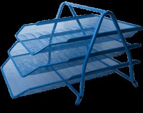Лоток для бумаг горизонтальный 3в1, синий