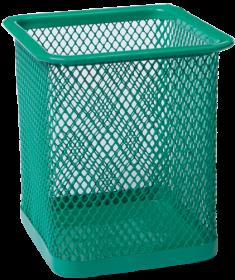 Подставка для ручек металлическая квадратная Buromax, зеленая