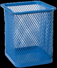 Подставка для ручек металлическая квадратная Buromax, синяя