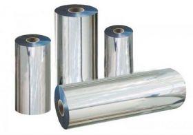 Пленка рулонная PET металлизированная 690 мм, 2000 м, 22 мкм, серебро