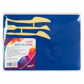 Доска для пластилина KITI, 25х18 см, 3 стека, синяя