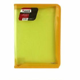 Папка на молнии Axent B5, 550 мкм, прозрачная желтая