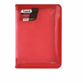 Папка на молнии Axent B5, 550 мкм, прозрачная красная
