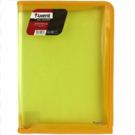 Папка на молнии Axent А4, 550 мкм, прозрачная желтая