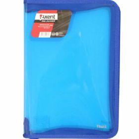 Папка на молнии Axent А4, 550 мкм, прозрачная синяя