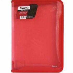Папка на молнии Axent А4, 550 мкм, прозрачная красная