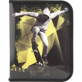 Папка на молнии KITE В5, 500 мкм, Cool Skateboarder