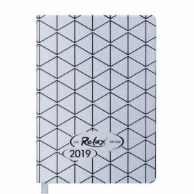 Ежедневник датированный 2019 Buromax Design RELAX, серебро, А6