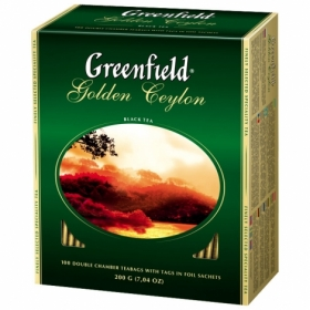 Чай черный в пакетиках Greenfield GOLDEN CEYLON, 100 шт х 2 г