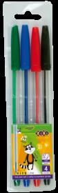 Набор ручек шариковых ZiBi KIDS Line 0.7 мм, ассорти, 4 шт