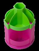 Подставка-органайзер для ручек пластиковая ZiBi FUN, 10 отделений, салатово-розовая