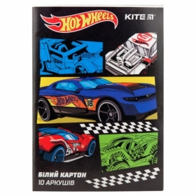 Картон белый KITE Hot Wheels A4, 10 листов