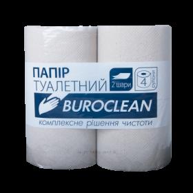 Бумага туалетная целлюлозная на гильзе Buroclean, 2 слоя, 4 рулона, серая