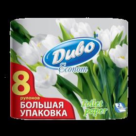 Бумага туалетная целлюлозная на гильзе Диво Econom, 2 слоя, 8 рулонов, белая